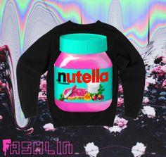 UNISEX Pink Nutella Neon Fluorescent Nu Goth Sweatshirt // Black // fASHLIN. $50.00, via Etsy.