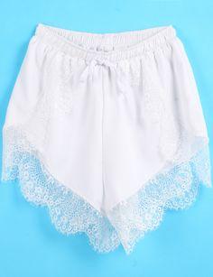 White Elastic Waist Contrast Lace Shorts - Sheinside.com