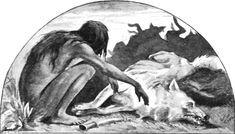 "Mowgli mourns Akela: illustration from ""Red Dog"" by John Lockwood Kipling, father of the author"