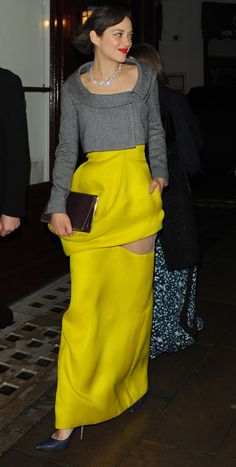 Marion Cotillard (in Dior) leaving the BAFTAs afterpary in London, February 10th
