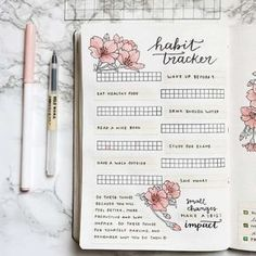 Bullet Journal Ideas- Tons of ideas to set up a habit tracker in your bullet journal! Get lots of bullet journal inspiration, including perfect layouts, ideas to track, how to organize your information, tips on making set up easier, and other valuable bujo information! #bulletjournal #bujo #bulletjournaling #planner #journaling #tracker #habittracker