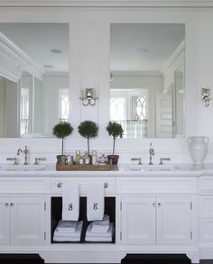 """A """"Wow"""" master Bathroom Cabinet Design. This double vanity includes both concealed and display storage spaces. Its mirrors reflect the view at the bay window behind. Bad Inspiration, Bathroom Inspiration, Bathroom Ideas, Bathroom Goals, Budget Bathroom, Bathroom Designs, Bathroom Renovations, Dream Bathrooms, Beautiful Bathrooms"""
