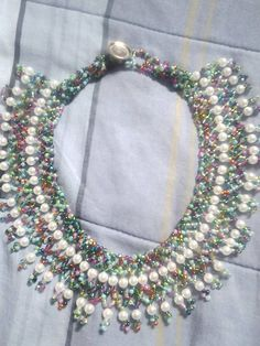 """Double Netting Necklace with Pearls--""""Caribbean Vacation"""""""