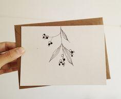 Hand Drawn Christmas Card Mistletoe Card in by mipluseddesign