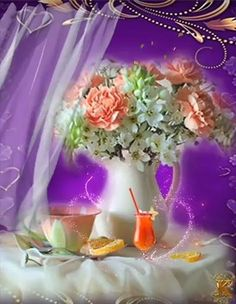 Beautiful Pink Roses, Beautiful Gif, Beautiful Morning, Beautiful Birds, Good Morning Gift, Good Morning Roses, Rosas Gif, Hug Images, Good Evening Greetings