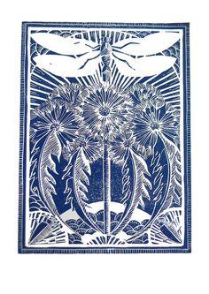 Dandelion and Dragonfly by Mangle Prints- Amanda Colville Linocut Prints, Art Prints, Block Prints, Decoupage, Collagraph, Dragonfly Art, Pintura Country, Wood Engraving, Woodblock Print