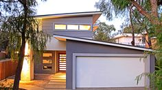 James Hardie Scyon Cladding, Highlight Feature windows, skillion garage roof, Two Storey home design, beachside home Home Design, Shed Design, Garage Design, Design Ideas, House Cladding, Exterior Cladding, Facade House, House Facades, James Hardie
