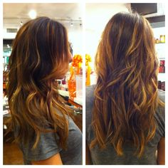 achieving sunkissed highlights using the Balayage method.