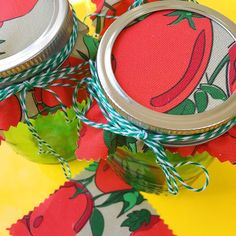 """This is how I am going to gussy up my canned tomatoes. """"On the Vine"""" pattern in my Fruit & Veg collection. #diy  #spoonflower  #fabric #giftwrap #sew #sewing #misschiffdesigns #surfacedesign #surfacepattern #surfacepatterndesign #maker #handmade #patterns #crafty #giftwrapping #textiles #textiledesign #quilt #quilting"""