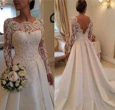 Romantic wedding dress,Appliques Wedding Dress,Long-Sleeves wedding dress,Backless Wedding dress P561