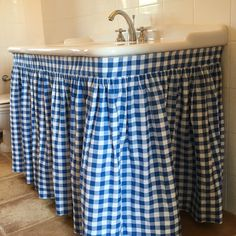 Bathroom Sink Skirt Gathered 92 Wide X 30 Long By Traceysfeatherednest Gingham Curtains