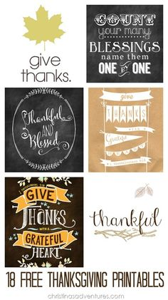 Awesome round-up of 18 free Thanksgiving printables