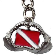 Innovative Great White Shark Jaw Keychain with Scuba Diving Diver Down Flag by Innovative Scuba Concepts. $14.99. This gorgeous keychain is a real conversation starter - shark jaws holding a diver down flag