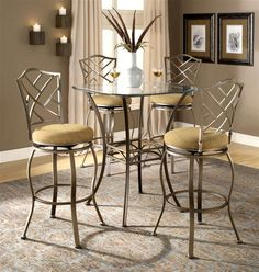 Bar Height Beveled Glass Bistro Table with Four Lattice Back Stools - Brookside/Hanover
