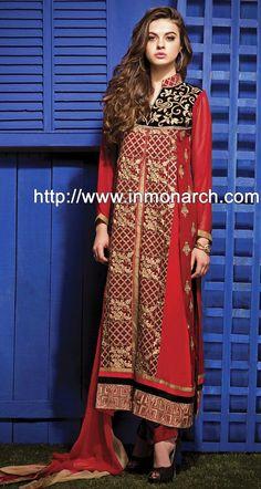 INMONARCH Womens Free Shipping Fabulous Red Georgette Pakistani Suit SLUN4690
