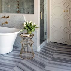 Marble patterned bathroom floor