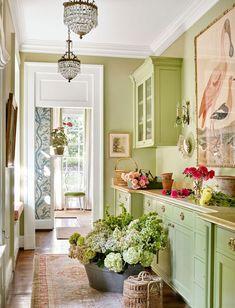 Sarah Bartholomew Design (House of Turquoise) House Of Turquoise, Küchen Design, House Design, Interior Design, Design Ideas, Green Rooms, Green Walls, Decoration Design, Traditional House