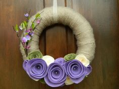 Spring Wreath - Tan Yarn Wrapped Wreath with Purple Felt Flowers - 12 inch Felt Flower Wreath Felt Flower Wreaths, Felt Wreath, Diy Wreath, Felt Flowers, Yarn Wreaths, Purple Flowers, Holiday Wreaths, Holiday Crafts, Felt Crafts