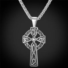 U7 Celtic Christian Jewelry Stainless Steel Triquetra Viking Triple Horn Of Odin Celtic Cross Male Necklaces & Pendants  P754