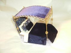 Gold Metal & Wire Canopy Dressed Miniature Bed Dolls House Four 4 Poster via Etsy