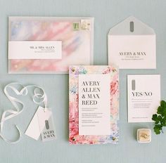 Floral blue and pink wedding invitations