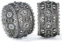 CARNET, Ong's Black Lace bangles of oxidized 18kt white gold set with diamonds. No one makes lace jewels like Michelle Ong.