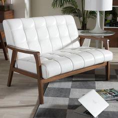 Baxton Studio Mid-Century Faux-Leather Loveseat, White