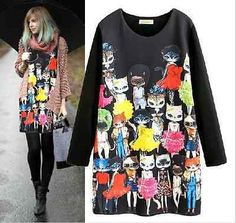 HOT Fashion Chic Celebrity Style Space Cotton Cartoon Cat Animal print Dress | eBay