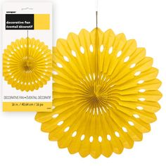 Yellow Paper Fan Decoration