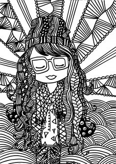 Free adult coloring page. Hipster girl with zentangles. Gratis kleurplaat voor… --> If you're looking for the top coloring books and supplies including colored pencils, watercolors, gel pens and drawing markers, go to our website at http://ColoringToolkit.com. Color... Relax... Chill.