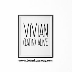 Vivian Name Meaning Art Printable Baby By LetterLuxePrintables