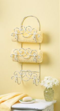 Shabby Chic Wrought Iron Towel Rack paint bronze. FABULOUS TO PLACE SILVER TRAYS IN PLACE OF TOWELS!