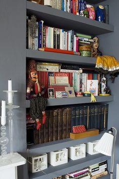 Shelfie! Love the grey bookcase