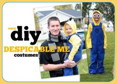 EASY diy Despicable Me costumes - instructions on how to make the minion overalls, goggles, and hairy hoodie AND a Gru scarf | VanillaJoy.com