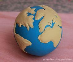 Bola del mundo en fondant / Globe in fondant