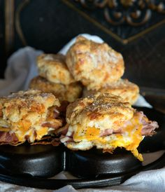 This biscuit sandwich is over the top good!  Start with a flaky melt in your mouth Cheddar Bay Biscuit, golden around the edges fried egg, crisp bacon, thin sliced smoky ham and top with melted cheese.  You have the perfect anytime sandwich.