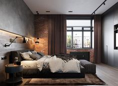 loft interior 2 on Behance Loft Style Bedroom, Industrial Bedroom Design, Hotel Room Design, Loft Design, Apartment Interior Design, Bedroom Modern, Industrial Interiors, House Design, Loft Interiors