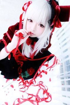 K Project Anna Cosplay | via Facebook #prom white hairstyles