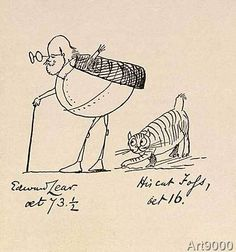 Edward Lear - Edward Lear Aged 73 and a Half and His Cat Foss, Aged 16
