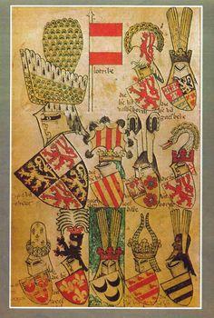 De wapens van een aantal Brabantse steden ca 1370 weergegeven met hun helmtooi.