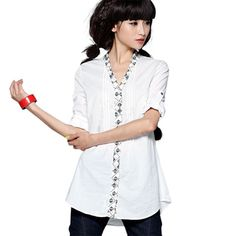 #Swanmarks Liebo New Side Embroidery Combed Cotton Long Sleeved Blouse