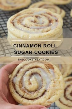 Soft and delicious cinnamon roll sugar cookies. Perfect in every way. Soft and delicious cinnamon roll sugar cookies. Cinnamon Roll Cookies, Chewy Sugar Cookies, Rolled Sugar Cookies, Yummy Cookies, Cookies Et Biscuits, Cookies Soft, Brownie Cookies, Homemade Cookies, Bakery Sugar Cookies Recipe