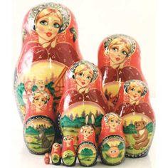 """Matryoshka """"Kolobok"""" (fairytales)    FromRussia.com"""