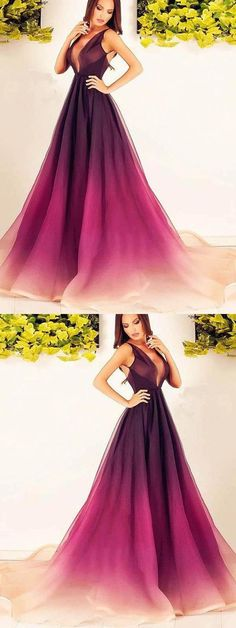 2018 A Line Prom Dress Modest Cheap Long Ombre Prom Dress G221#prom #promdress #promdresses #longpromdress #promgowns #promgown #2018style #newfashion #newstyles #2018newprom #eveninggown #omdre #aline #vneckline #cheappromdress #womendresses