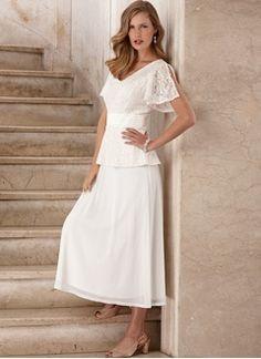 A Line Princess V Neck Tea Length Lace Mother Of The Bride Dress