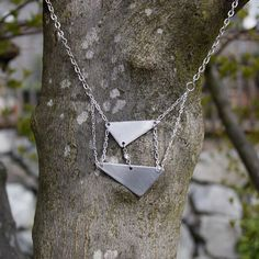 Geometric Steel and Chain Necklace by Objects and Subjects