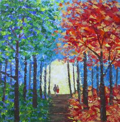 Trees Couple Walking Palette Knife Painting Canvas by steph4567