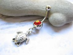 Sea Turtle Belly Button Jewelry Silver and Red by BitsOffTheBeach,