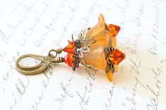 Orange Fire Lucite Flower Earrings, Vintage Style Earrings
