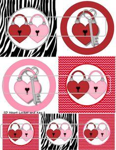 DIY Printable Heart Locket and Key 1 Shrinky Dinks by MaddieZee, $1.25